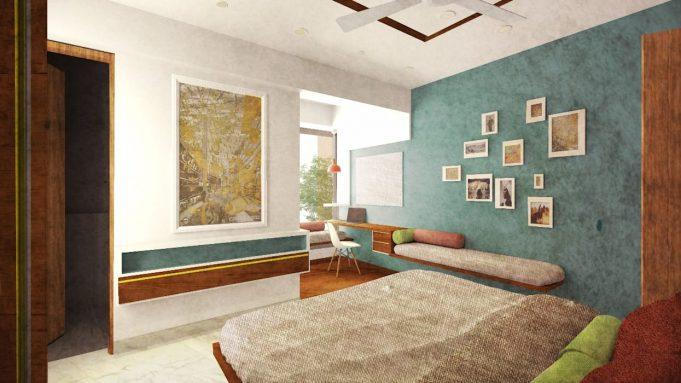 Настенная мебель в маленькой спальне