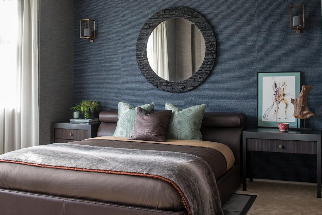 Идеи для мужской спальни: строгие геометрические узоры