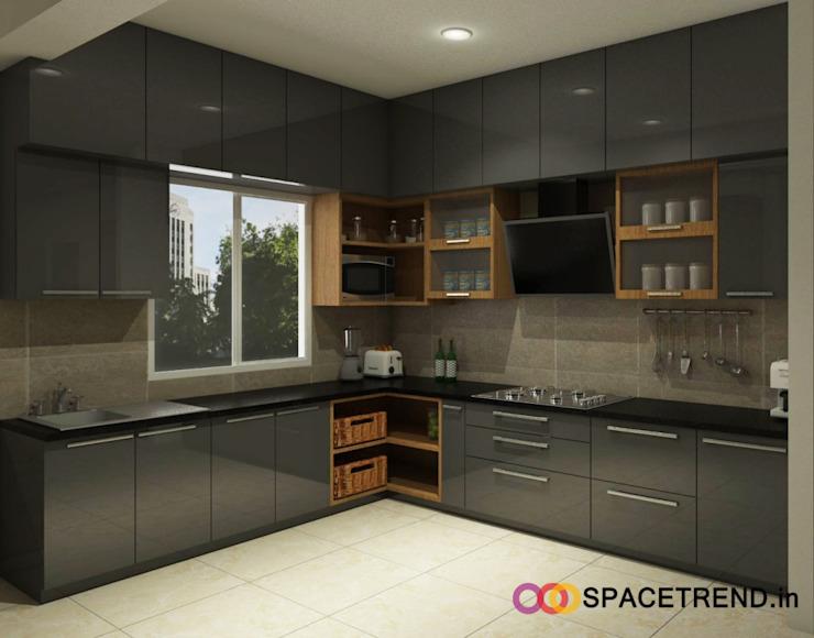 Открытые кухонные угловые шкафы