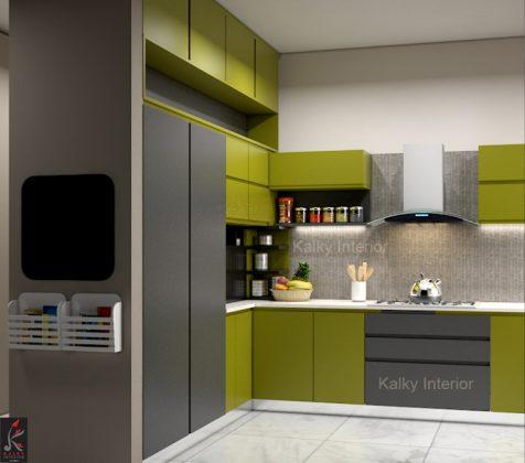 Дизайн кухонного углового шкафа - замените открытыми полками на прилавке