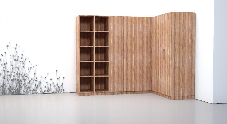 Деревянный шкаф в L-образной конфигурации - простой, но разнообразный для индивидуального использования